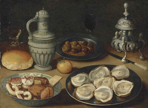 sweetmeats in a wanli kraak porcelain bowl oysters and olives on pewter platters a roll an orange a stoneware jug a roemer and other vessels by osias beert the elder