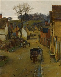 a village street by william fletcher