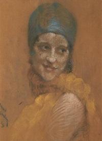 portrait d'une jeune femme au chapeau bleu by jean albert grand-carteret