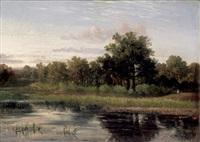 personnage au bord d'un étang by horace-antoine fonville