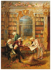 library interior with four gentlemen reading by augusto daini