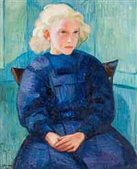 ung flicka i blå klänning by gregori aminoff
