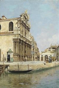 obstverkäufer vor einer venezianischen kirche by rafael senet y perez