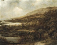 vue d'une ville au bord d'un estuaire by jacob koninck the elder