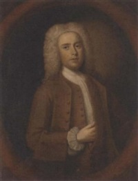 portrait of a gentleman in a brown coat and white stock by john theodore heins sr.