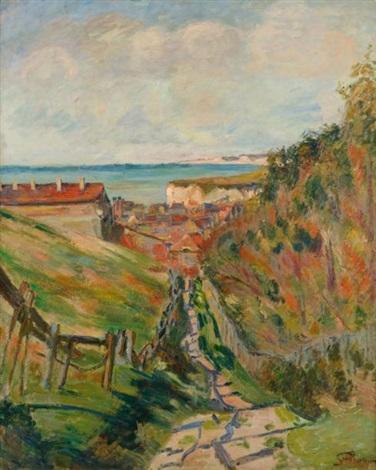 paysage de la manche ou chemin près du village en bord de mer by armand guillaumin
