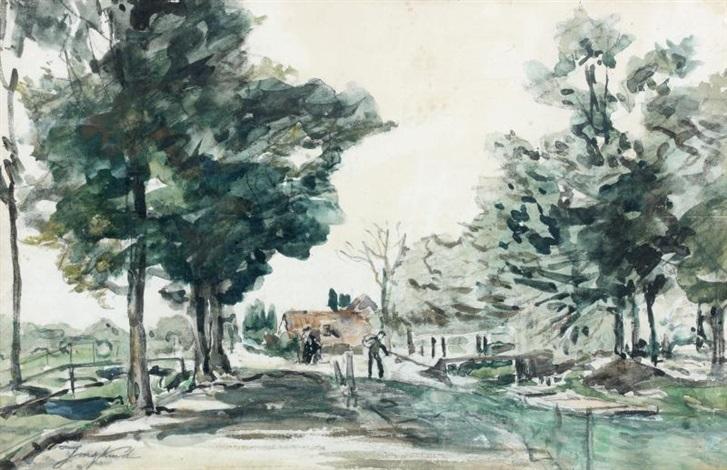 route bordée darbres dans le dauphiné by johan barthold jongkind