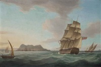 a royal navy third rate heeling in the breeze as she arrives off gibraltar to join a squadron of the red lying at anchor inshore by thomas whitcombe