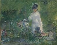 jeune femme dans les fleurs by édouard manet