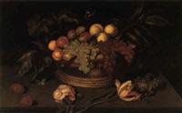 une corbeille de fruits et du feuillage avec deux papillons et une chenille by johannes bosschaert
