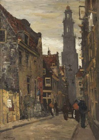 a busy street, the westertoren beyond, amsterdam by jan korthals