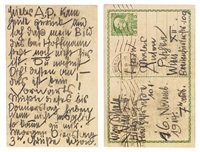 zwei postkarten, geschrieben von egon schiele an anton peschka (eine ansichtskarte von krumau - schloss vom hofgarten) by egon schiele