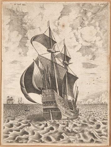 navire à quatre mats armé, navigant vers un port (engraved by franz huys) by pieter brueghel the elder
