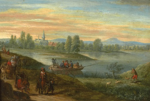 paysage fluvial animé de personnages by isaac van oosten