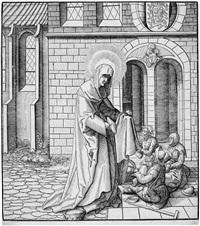 die heilige bathildis (mathilde) speist die kranken und lahmen (from bildnisse von heiligen aus dem hause habsburg) by leonhard beck