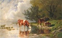 vaches à l'abreuvoir by charles auguste humbert