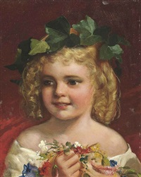 a child holding a posy, ivy in her hair by james sant