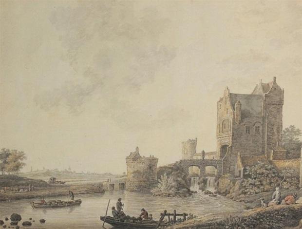 fortification au bord dune rivière animée de personnages by david alphonse de sandoz rollin