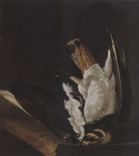 a still life with a lapwing by isaac colonia