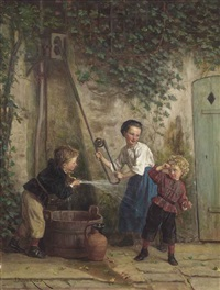 playing at the pump by théophile emmanuel duverger