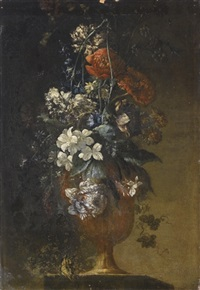 vaso di anemoni e giacinti su un piano di pietra by antoine monnoyer