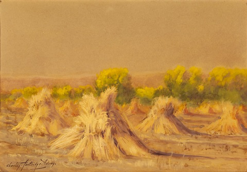 landscape with hay bales by charles partridge adams