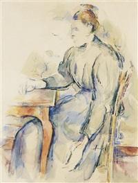 femme assise (madame cézanne) by paul cézanne
