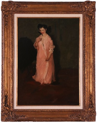 woman in pink robe by george benjamin luks