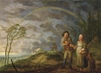 paysage avec scène bergère sous un arc-en-ciel by jan anton garemyn