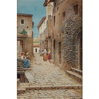 woman on cobblestone street, italy by scipione simoni