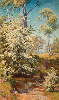 hawthorn blossom, brownhill creek by walter follen bishop