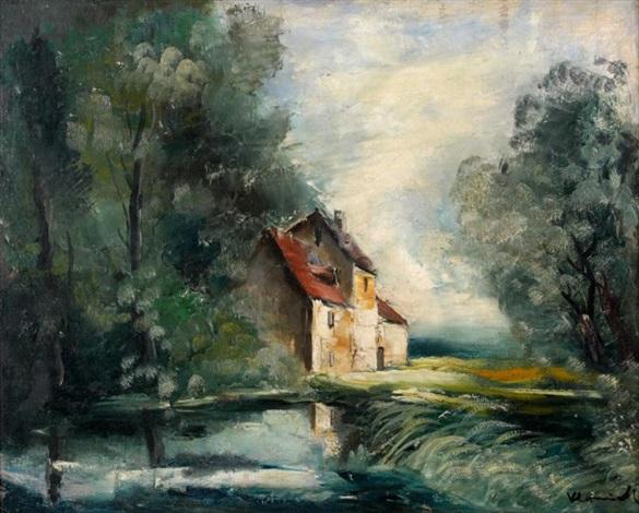 la maison au bord de létang by maurice de vlaminck