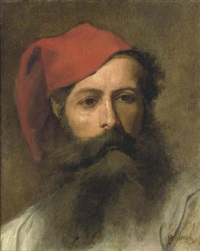 portrait of a man with a turkish hat by moritz gottlieb