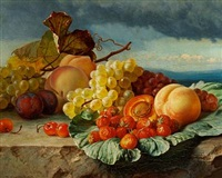 still life with peaches, strawberries and grapes in a landscape by theude grönland