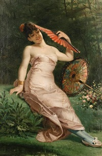 reclining beauty with fan by e. meyer