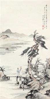 唐人诗意 江南风景 立轴 纸本 by liang boyu