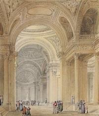 vue intérieure du panthéon (+ 2 others; 3 works) by pierre françois léonard fontaine