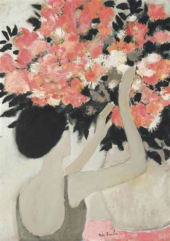 chantal au bouquet de fleurs roses by andré brasilier