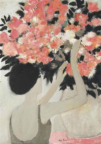chantal au bouquet de fleurs roses by andré brasilier