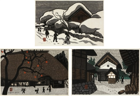 winter in aizu autumn in aizu landscape with warehouse set of 3 by kiyoshi saito