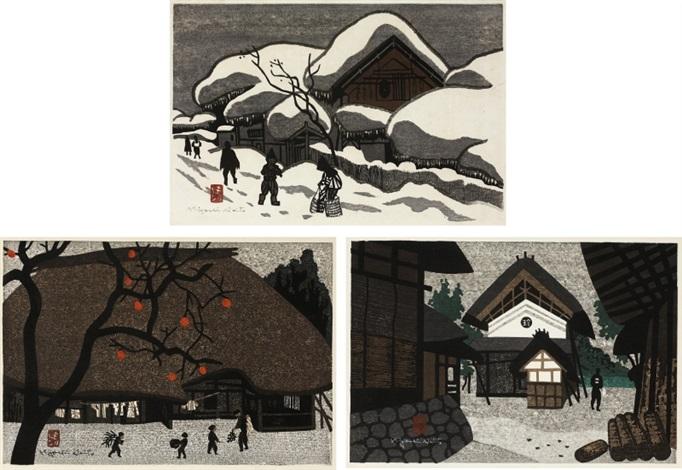 winter in aizu/ autumn in aizu/ landscape with warehouse (set of 3) by kiyoshi saito