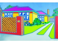 a large house with fence by howard arkley