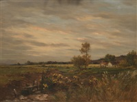 evening in french countryside by jean-charles cazin
