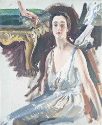 study for a portrait of the countess of rocksavage and her son by charles sims