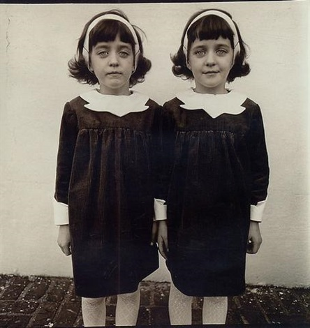 identical twins, cathleen and colleen, roselle, nj by diane arbus