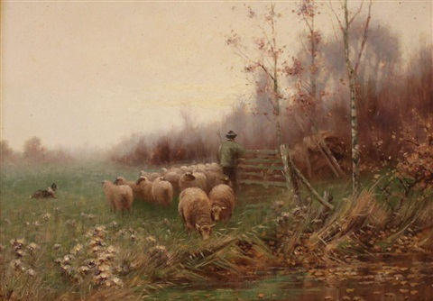early dawn shepherd with flock by sidney pike