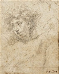 the head of a young man, a study for an angel of the annunciation by giulio cesare procaccini
