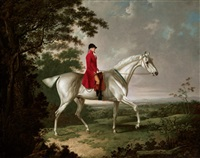 a gentleman on a grey horse riding in an extensive landscape by charles towne