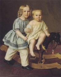 kinder, auf einem schaukelpferd by f. wolfram