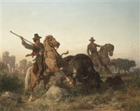herding buffalo by edouard van den bosch